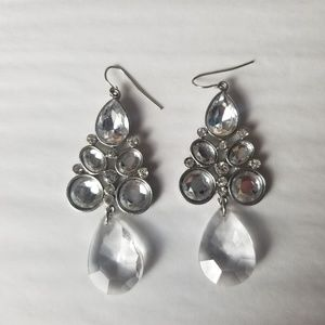 Clear & Silver Tone Chandelier Earrings